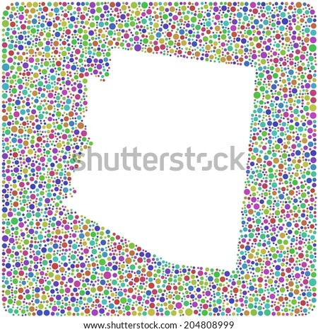 Decorative map of Arizona into a square icon. Mosaic of colored circles