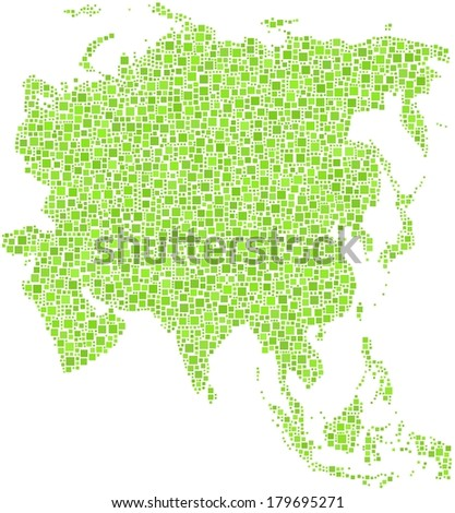 Decorative map of Asia. Mosaic of green squares. - stock vector