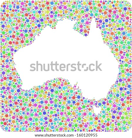 Decorative Map of Australia in a square sign  Mosaic of harlequin circles - stock vector