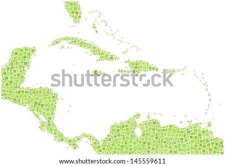 Decorative map of Caribbean Islands in a mosaic of green squares. A number of 3092 green squares are accurately inserted into the mosaic. White background. - stock vector