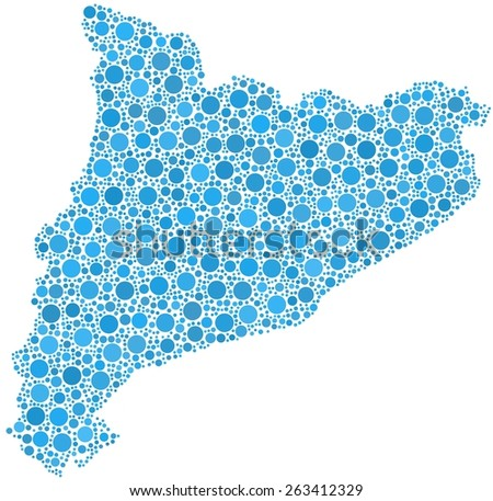 Decorative map of Cataluna - Spain - in a mosaic of blue bubbles - stock vector