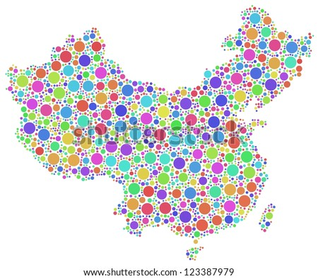 Decorative map of China (Asia) in a mosaic of circles. A number of 2190 bubbles have been inserted into the mosaic. White background