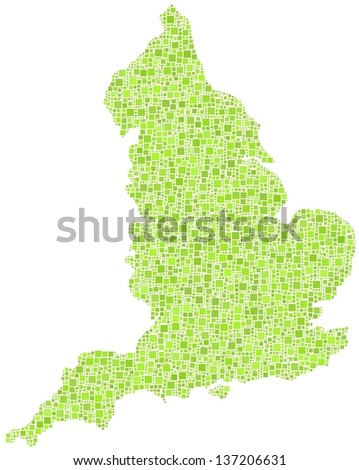 Decorative map of England - UK - in a mosaic of green squares