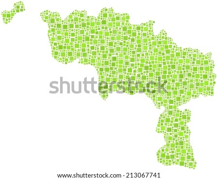 Decorative map of Hainaut province of Belgium in a mosaic of green squares - stock vector