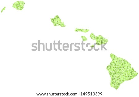 Decorative Map of Hawaii - USA - in a mosaic of green squares. A number of 2132 little squares are accurately inserted into the mosaic. White background. - stock vector