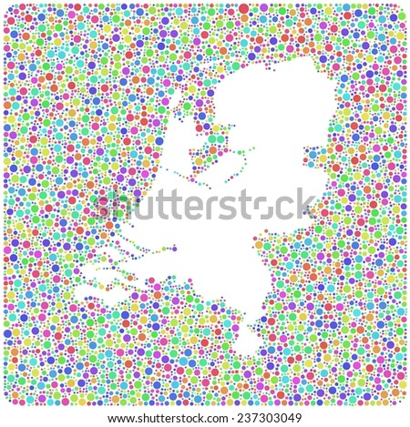 Decorative map of Holland into a square icon. Mosaic of little harlequin circles - stock vector