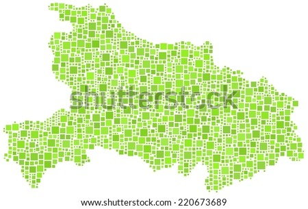 Decorative map of hubei province of China in a mosaic of green squares - stock vector