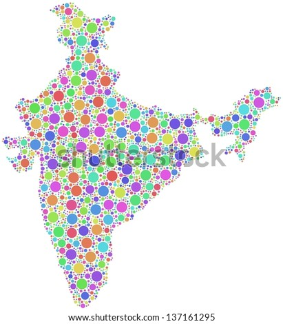 Decorative map of India - Asia - in a mosaic of harlequin bubbles