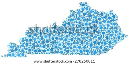 Decorative map of Kentucky - USA - in a mosaic of blue bubbles - stock vector