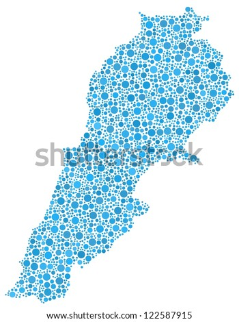 Decorative map of Lebanon - Middle East - A number of 2156 blue bubbles are inserted into the mosaic. White background. - stock vector