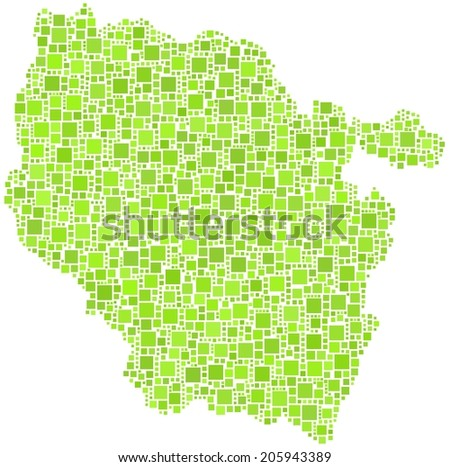 Decorative map of Lorraine - France - in a mosaic of green squares. White background