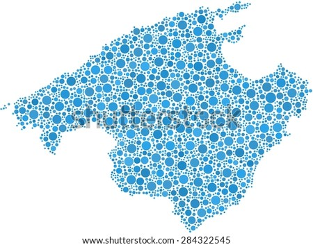 Decorative map of Majorca in a mosaic of blue bubbles - stock vector