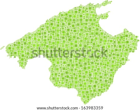 Decorative map of Majorca in a mosaic of green squares. A number of 4258 little green squares are accurately inserted into the mosaic. White background.  - stock vector