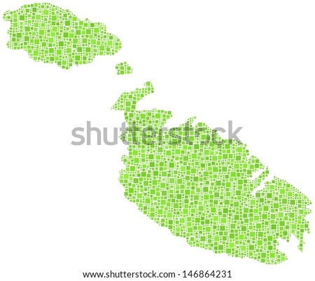Decorative map of Malta - Europe - in a mosaic of green squares