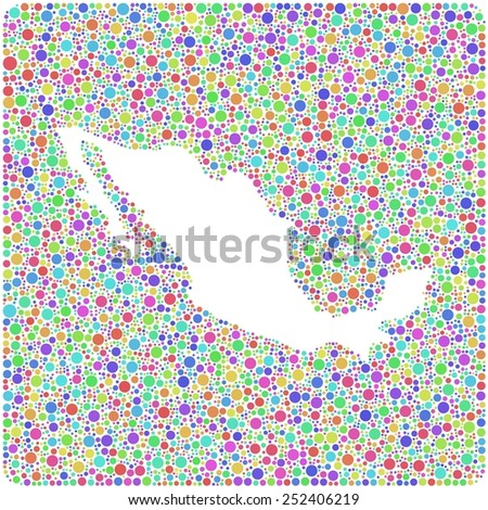 Decorative map of Mexico into a square icon.  Central America - in a mosaic of harlequin bubbles - stock vector