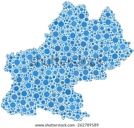 Decorative map of Midi-Pyrenees - France - in a mosaic of blue bubbles - stock vector