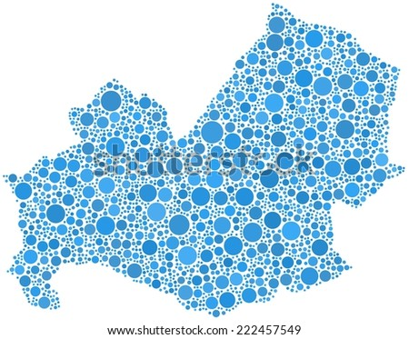 Decorative map of Molise - Italy - in a mosaic of blue circles - stock vector