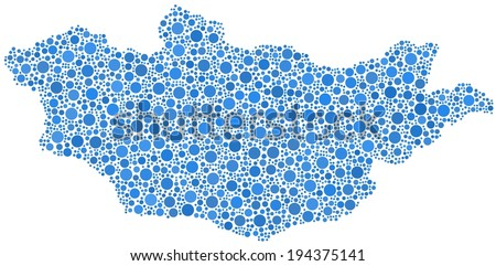 Decorative map of Mongolia - Asia - in a mosaic of blue bubbles