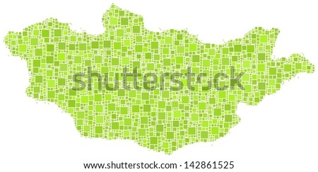 Decorative map of Mongolia - Asia - in a mosaic of green squares