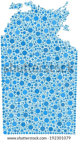 Decorative map of Northern Territory - Australia - into a square icon. Mosaic of harlequin circles - stock vector