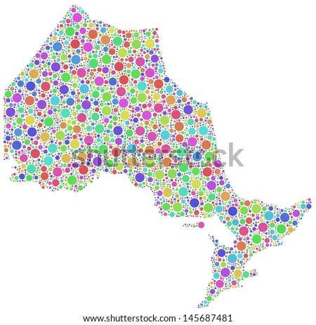 Decorative Map of Ontario - Canada - in a mosaic of harlequin bubbles - stock vector