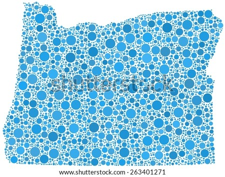 Decorative map of Oregon - USA - in a mosaic of blue bubbles - stock vector