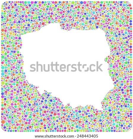 Decorative map of Poland into a square icon. Mosaic of harlequin circles - stock vector