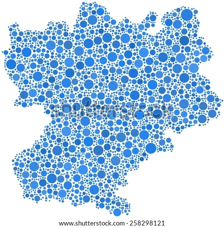 Decorative map of Rhone-Alpes - France - in a mosaic of blue circles - stock vector