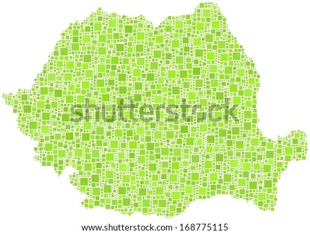 Decorative map of Romania - Europe - in a mosaic of green squares