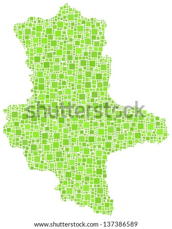 Decorative Map of Saxony - Anhalt. State of Germany. Mosaic of green squares