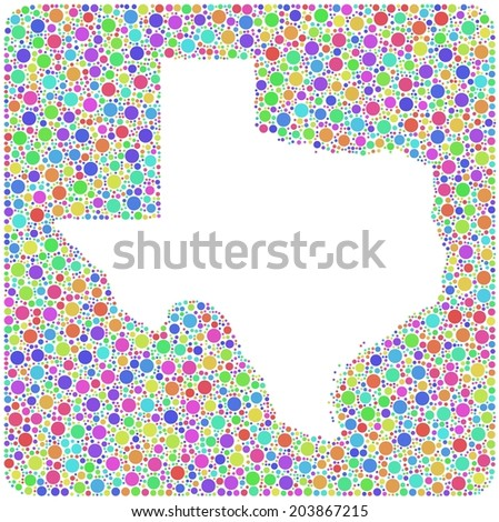 Decorative map of Texas - USA - into a square icon. Mosaic of harlequin bubbles
