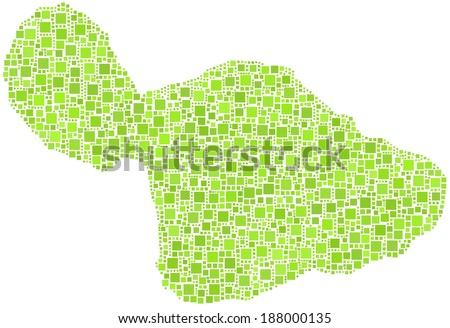 Decorative Map of the isle of Maui - Hawaii - in a mosaic of green squares - stock vector