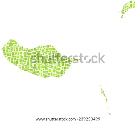Decorative map of the Madeira island in a mosaic of green squares - stock vector