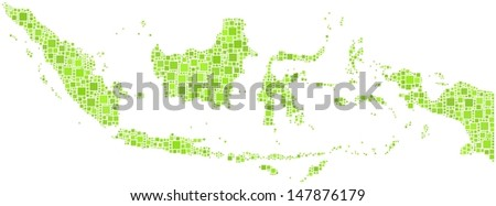 Decorative Map of the Republic of Indonesia - Asia - in a mosaic of green squares. A number of 1857 little squares are accurately inserted into the mosaic. White background. - stock vector