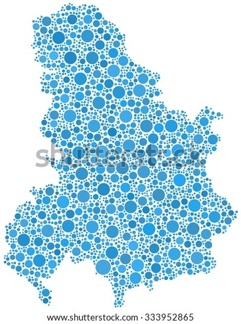 Decorative map of the State Union of Serbia and Montenegro - Europe - in a mosaic of blue bubbles - stock vector