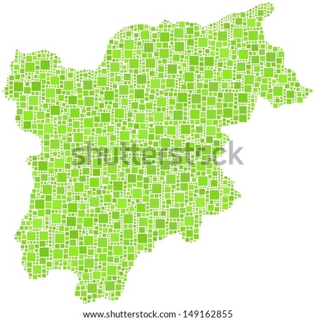 Decorative map of Trentino Alto Adige - Sudtirol - in a mosaic of green squares. A number of 2869 little green squares are accurately inserted into the mosaic. White background.  - stock vector