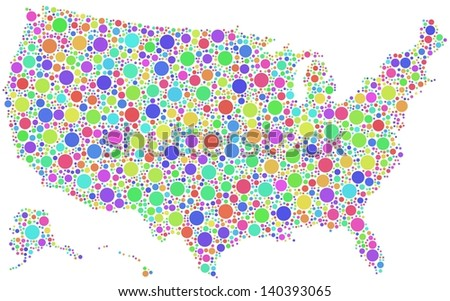 Decorative map of USA - America - in a mosaic of harlequin circles. A number of 3064 colored circles are accurately inserted into the mosaic. White background. - stock vector