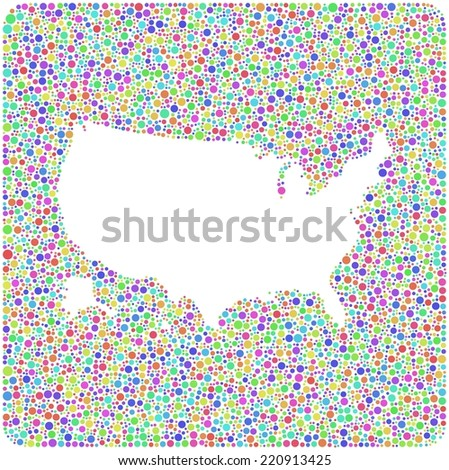 Decorative map of USA - America - into a square icon. Mosaic of harlequin circles - stock vector