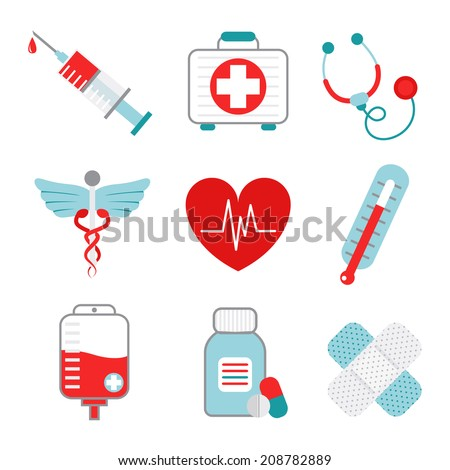 Decorative medical emergency first aid kit symbols pictograms collection with injection syringe abstract flat isolated vector illustration - stock vector