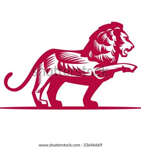 Decorative monochrome lion, without a gradient - stock vector