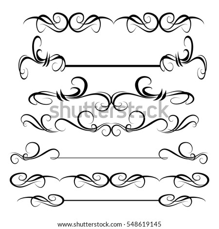 Decorative Monograms Calligraphic Borders Template Signage Stock