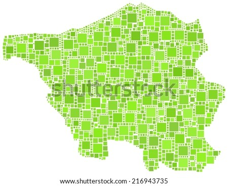 Decorative mosaic of the federal state of Saarland - Germany - - stock vector