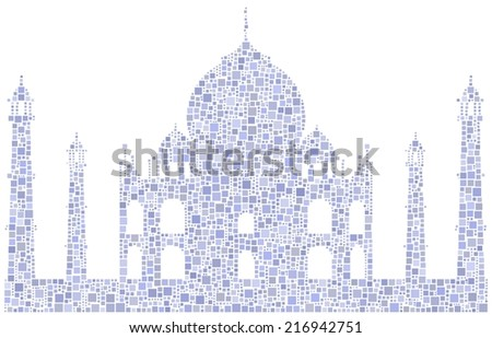 Decorative mosaic of the Taj Mahal mausoleum - India - - stock vector