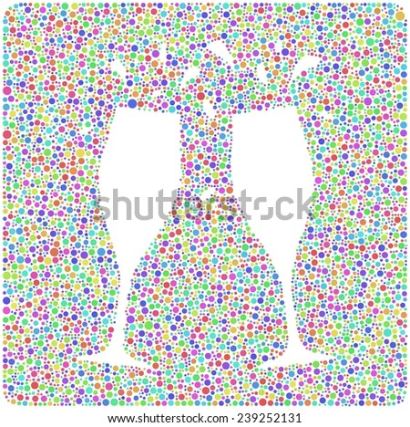 Decorative mosaic of two flutes with drops of wine. Mosaic of little harlequin circles - stock vector