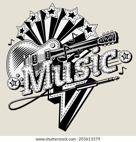 Decorative music emblem - stock vector