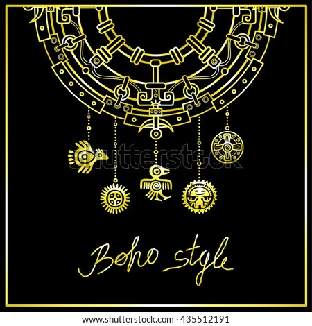 Decorative mystical semicircle with a beads in the form of ancient Indian symbols. Linear drawing, the isolated contour on a black background. Gold imitation. Vector illustration.