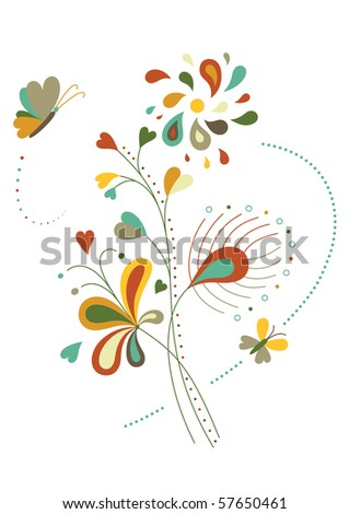 Decorative nature elements with butterflies and peacock feather. - stock vector
