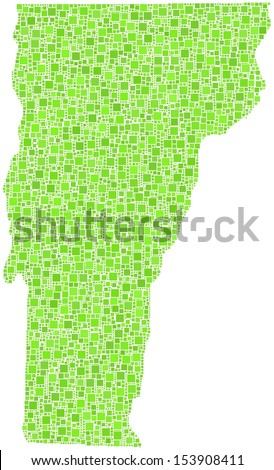 Decorative of map of Vermont - USA - in a mosaic of green squares - stock vector