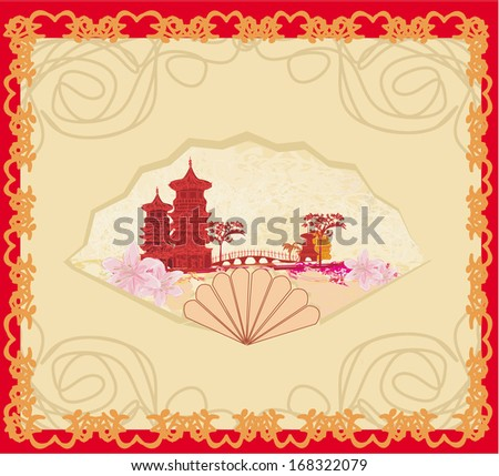 Decorative opened fan with patterns of Chinese landscape - stock vector