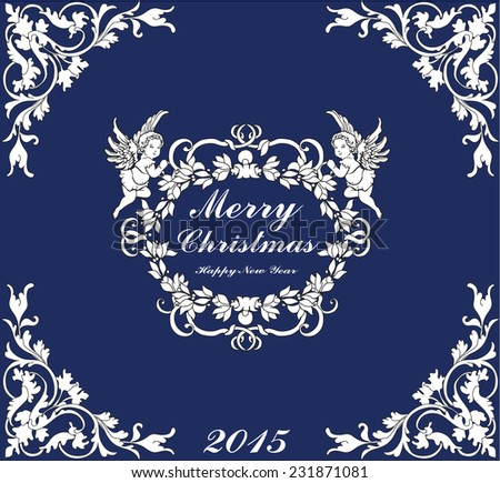 Decorative ornament Background with Christmas Label and two angels. Holiday Design. - stock vector